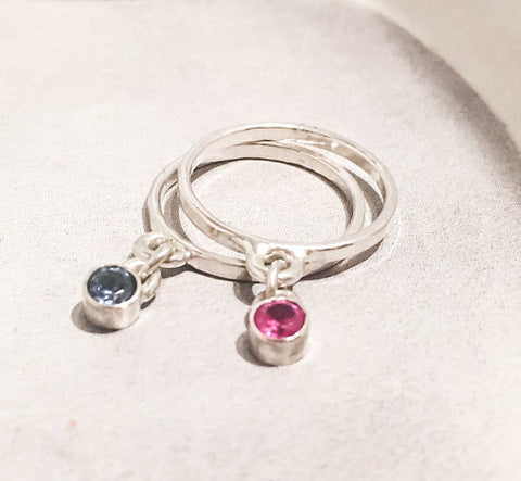 Birthstone Charm Ring // Choose Your Own Birthstone