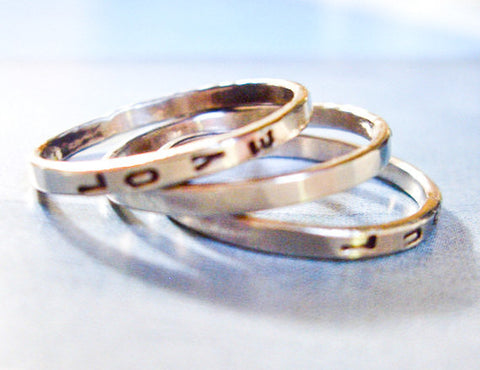 Three Stacking 14K White Gold Rings // Personalized // Design Your Own