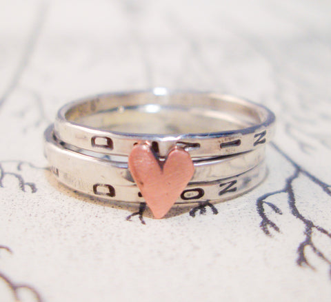 Love Is...Stacking Bands in Sterling Silver:  Hand Stamped & Personalized
