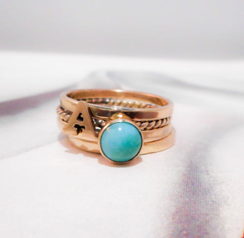 Alphabet and Turquoise Solid 14K Gold Stacking Bands  //  Hand Stamped and Personalized in Solid Gold and Turquoise