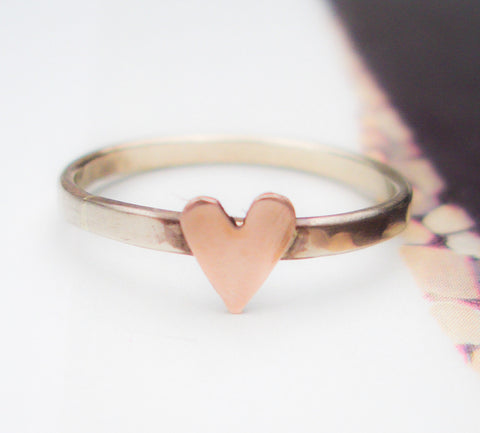 Solid 14K Rose Gold Heart Ring