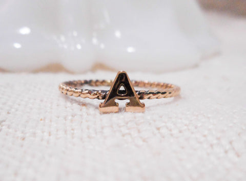 Alphabet Ring // Solid 14k Gold