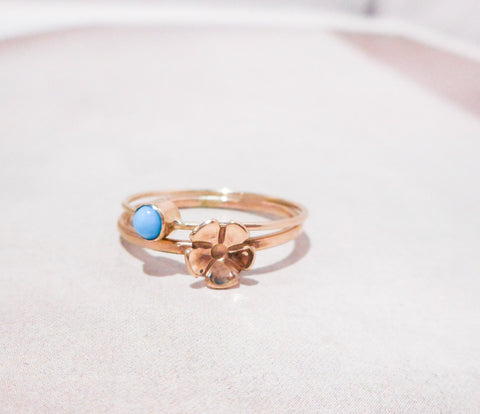 Turquoise and Fleurette Gold Stacking Ring // Solid 14K Gold and Sleeping Beauty Turquiose