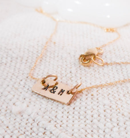 Darling Bar Necklace  // Solid 14k Gold