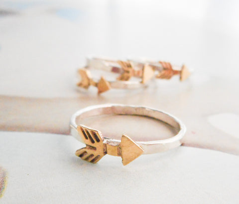 Brass Arrow Ring // Sterling Silver