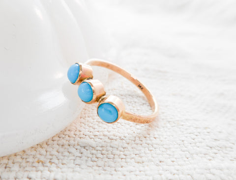 Triple Turquoise and Gold Ring // Solid 14k Gold and Sleeping Beauty Turquiose