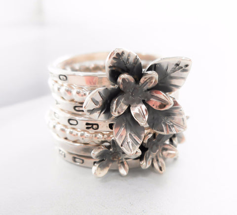 Wild Geranium Wildflower Ring Set // Personalized Stacking Ring in Sterling Silver