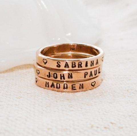 Wide Custom Stamped Ring // Solid 14k Gold Hand Stamped Ring