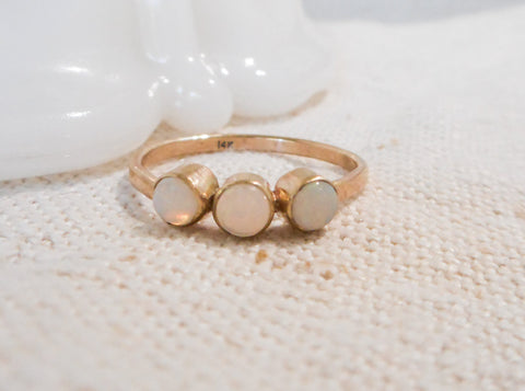 Triple Opal and Gold Ring // Solid 14k Gold and Opal