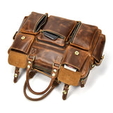 Retro Cognac Leather Briefcase - Gritty Rustic Leather Co.