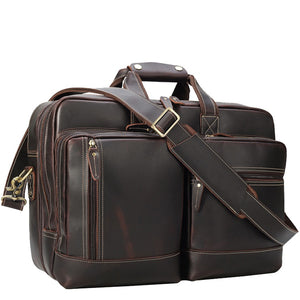 Business Travel Carry-All Leather Briefcase in Espresso