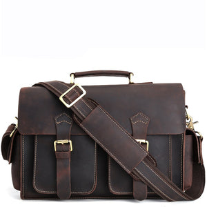Classic American Leather Messenger Bag in Espresso