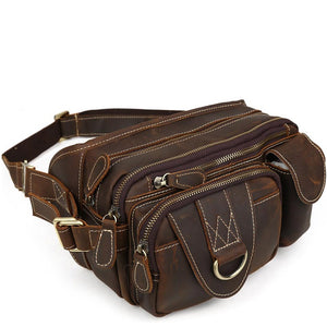 Dark Chocolate Leather Travel Waist Pack
