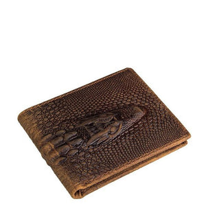 Alligator Head Mahogany Short Leather Wallet