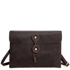 Classic Espresso Leather Envelope Messenger Bag - Gritty Rustic Leather Co.
