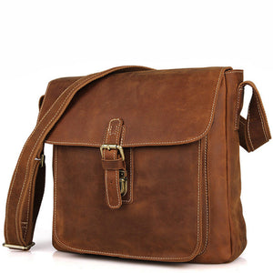 Vintage Crazy Horse Leather Khaki Brown Satchel Bag - Gritty Rustic Leather Co.