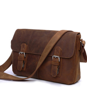 Vintage Crazy Horse Leather Redwood Satchel Bag - Gritty Rustic Leather Co.
