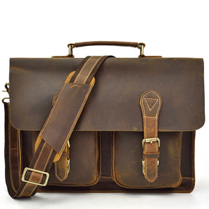 Classic Dark  Tobacco Leather Briefcase - Gritty Rustic Leather Co.