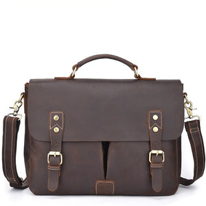 Classic Espresso Leather Messenger Bag - Gritty Rustic Leather Co.