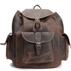 Classic Cocoa American Leather Backpack - Gritty Rustic Leather Co.