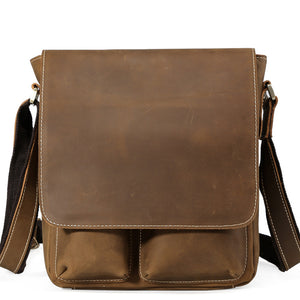Classic Brown Leather Messenger Bag - Gritty Rustic Leather Co.