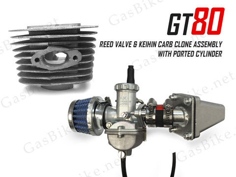 GT80 Reed Valve & Keihin Carburetor Clone Assembly with Ported Cylinder
