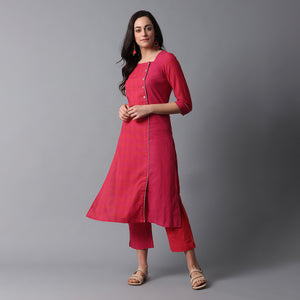 Side Overlap Big Button Mangalgiri Kurta