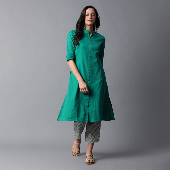 Band Collar A-line Plain Kurta with Jacquard Pants