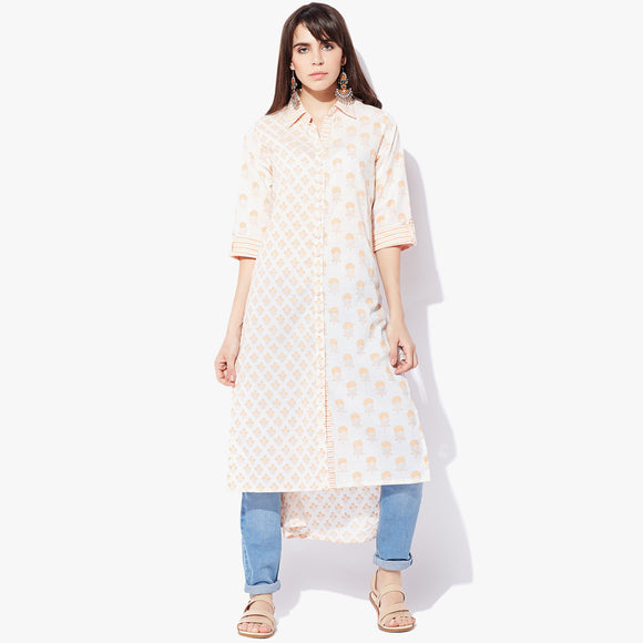 Shirt Collar High-Low Handblock Print Kurta - Indian Dobby