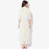 Band Collar Long Handblock Print Flex Kurta - Indian Dobby