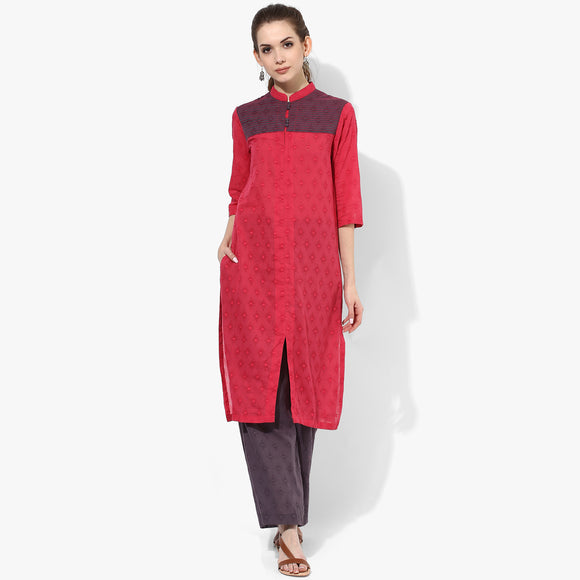 Band Collar Shoulder Yoke Cotton Dobby Long Kurta - Indian Dobby