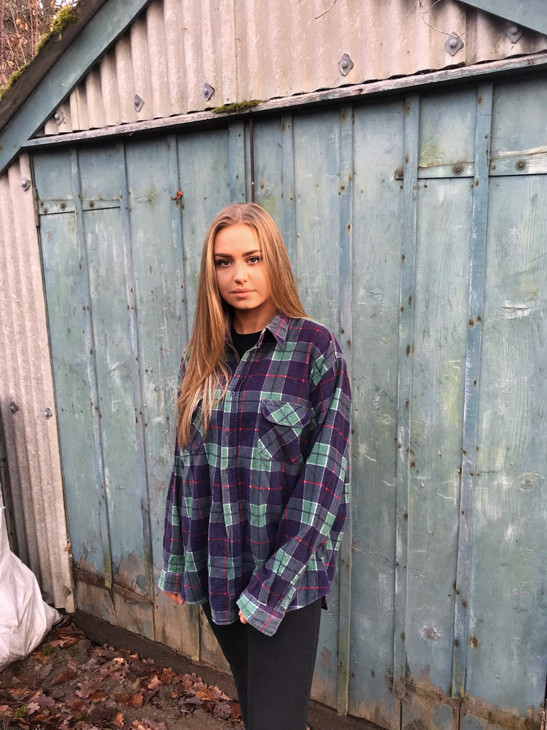 Unisex Vintage Checked Oversized 90's Flannel Shirt Green