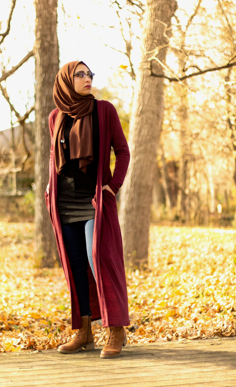 Maxi Cardigan with Pockets - Maroon