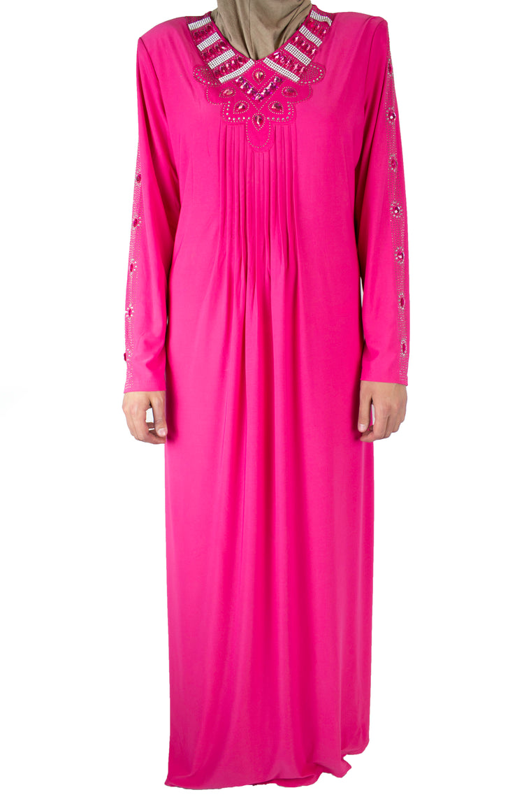 Jeweled Abaya - Pink