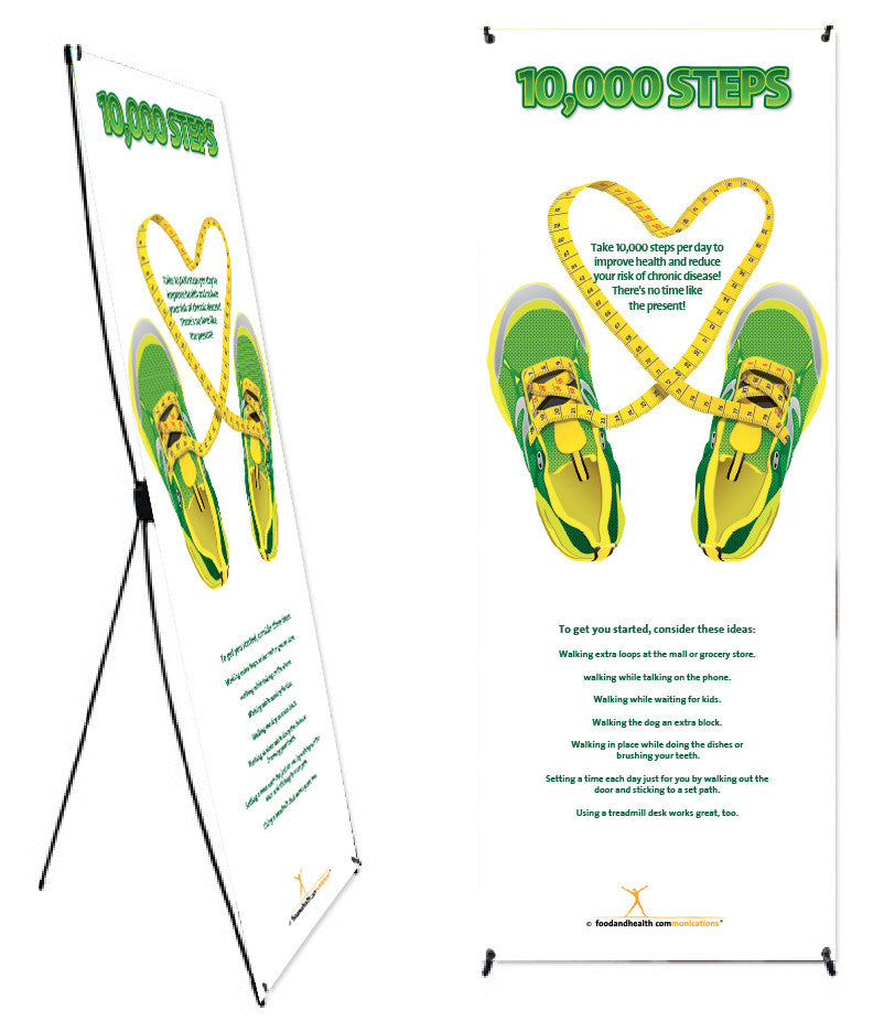 """10K Steps Banner and Banner Stand 24"""" X 62"""" - Nutrition Education Store"""