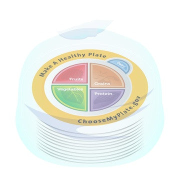 10 pack MyPlate Plate Plastic - Nutrition Education Store Exclusive Design - 10 Plates With Free Shipping - Nutrition Education Store