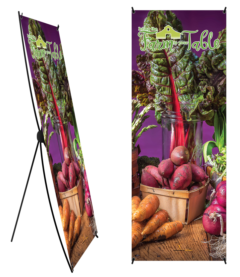 "Farm to Table Banner and Stand 24"" x 62"" - Wellness Fair Banner 24"" X 62"" - Nutrition Education Store"