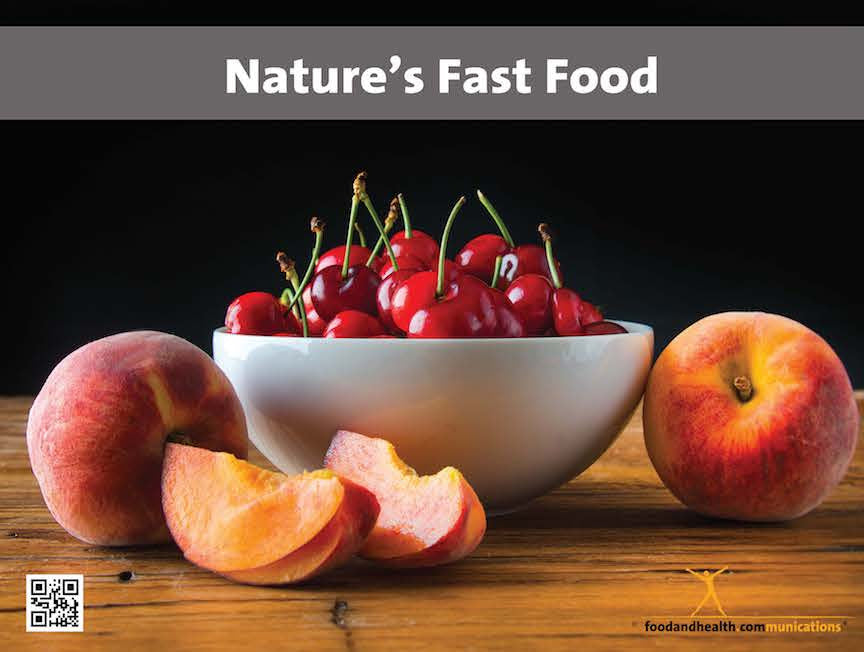 Nature's Fast Food Poster - Peaches and Cherries Food Photo Poster - Motivational Poster - Nutrition Education Store