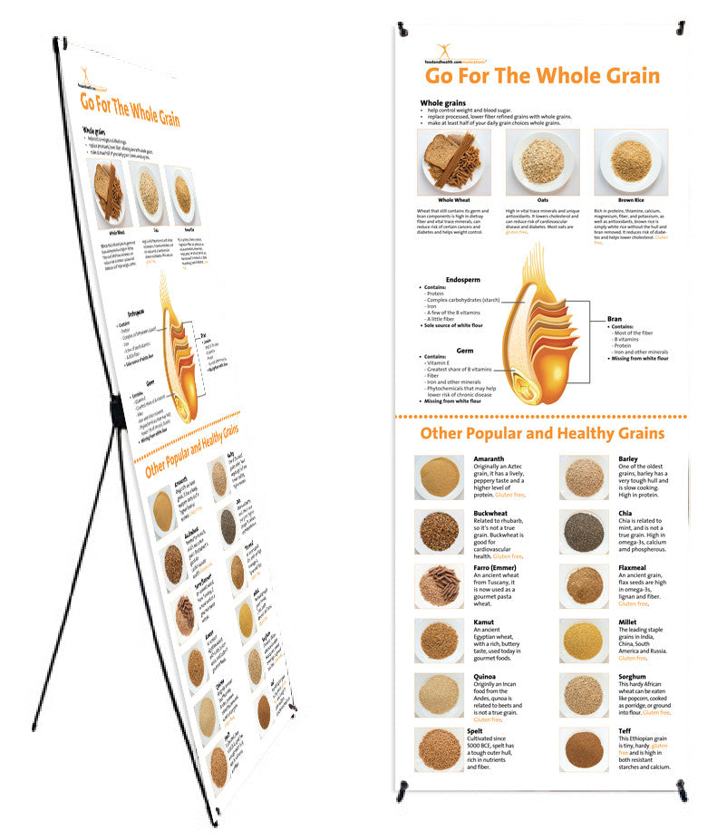 """Custom Whole Grain Banner 24"""" X 62"""" on Stand - Add Your Logo To This Health Fair Banner - Nutrition Education Store"""