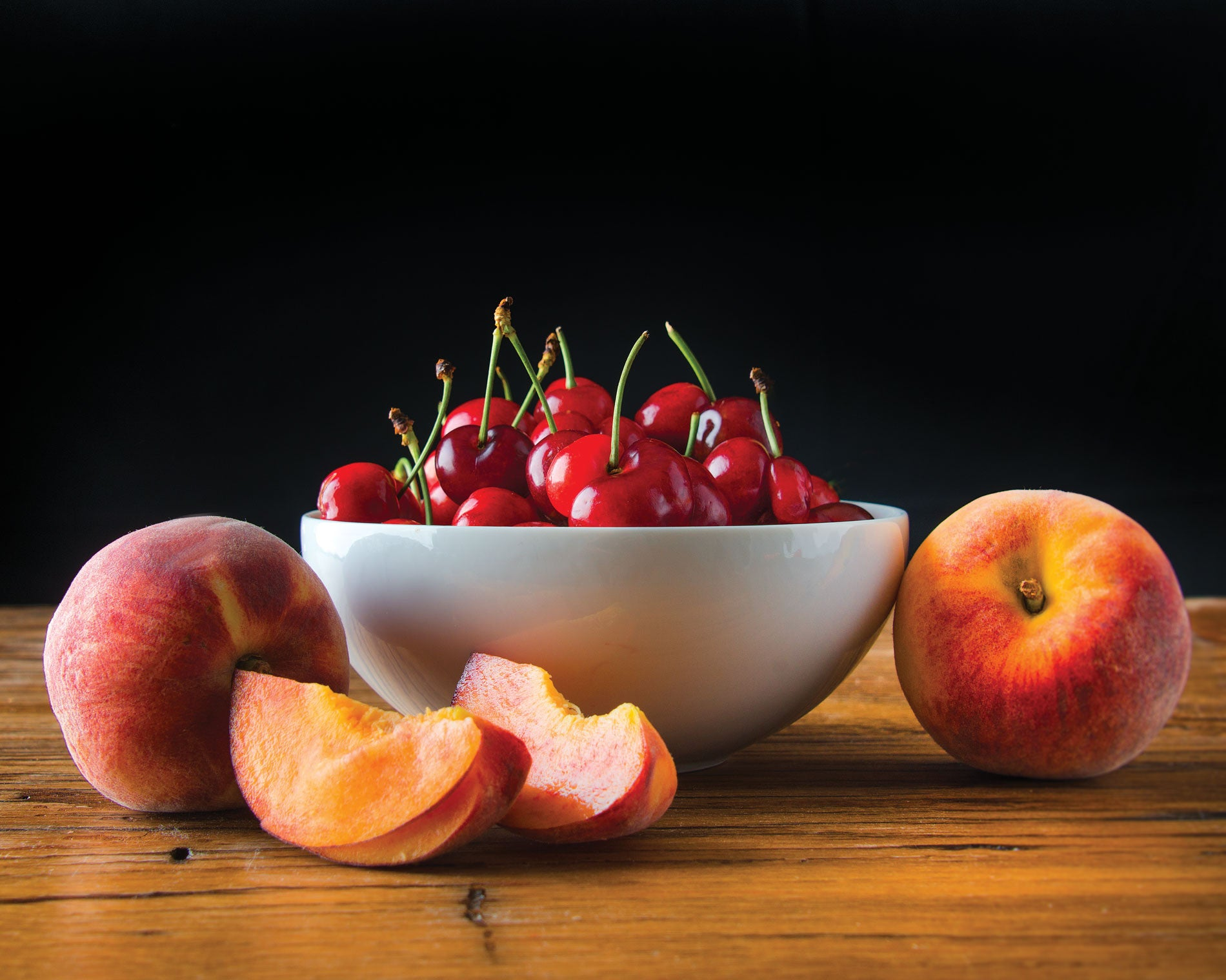 "Art Print 20"" x 16"" Food Photograph ""Cherries and Peaches Still Life"" on Canvas Foam Board Ready to Hang - Nutrition Education Store"
