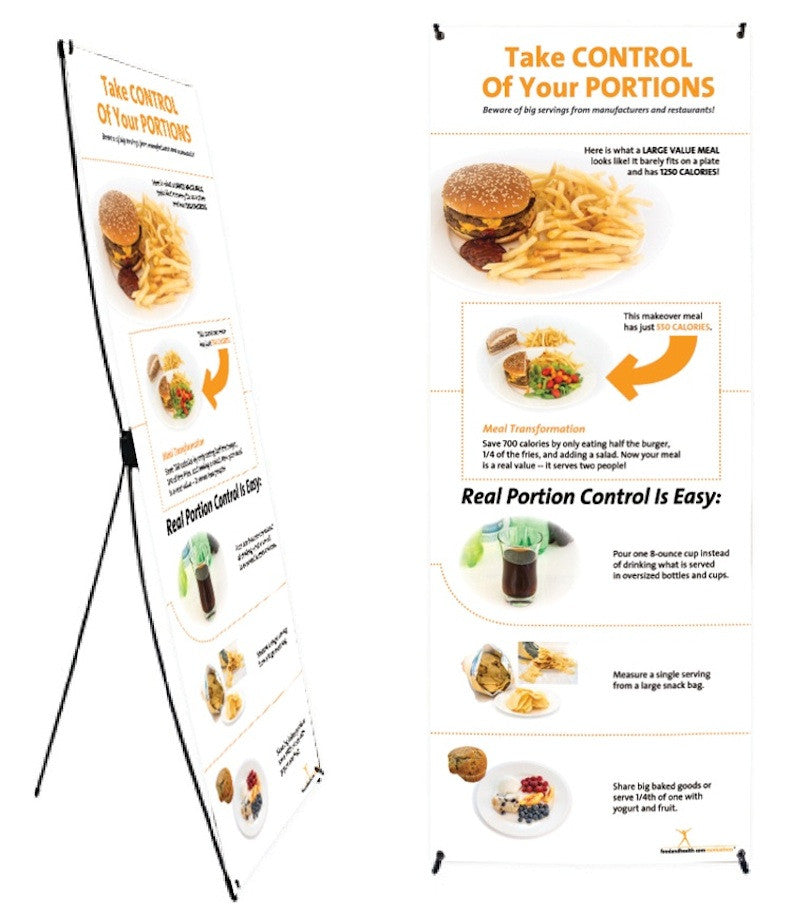"""Custom Portion Control Banner and Stand 24"""" X 62"""" - Add Your Logo To This Health Fair Banner - Nutrition Education Store"""