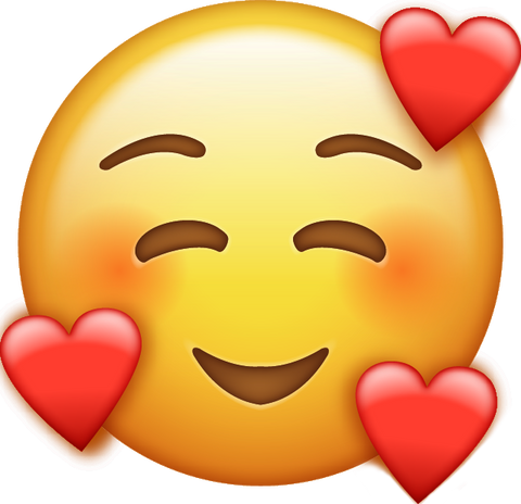 Download Smile Emoji With Hearts [Iphone IOS Emoji PNG]