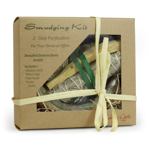 Kit - Smudging Kit Palo Santo - Sage - Yerba Santa - Abalone shell - with Purification Instruction Booklet