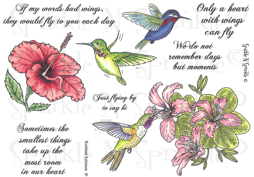 Hummingbirds & Flowers Digital Stamp Set [Digi451R]