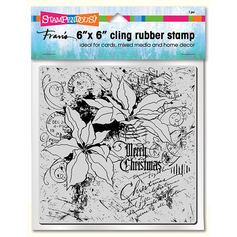 Poinsettia Collage Cling Stamp [6CR010]