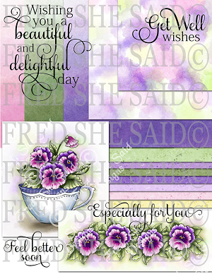 Purple Pansies Digital Bundle Pack with Extras [Digi826-833FS]
