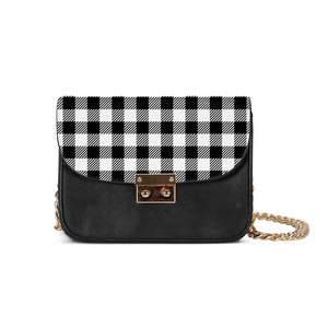 Black and White Plaid Small Shoulder Bag