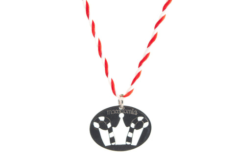 LUCKY CROWN SILVER DARK BIG PENDANT