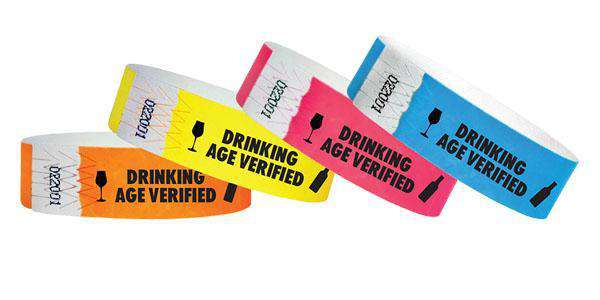 "3/4""  Tyvek Drinking Age Verified Wristbands"