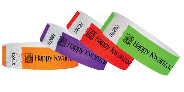 3/4 Tyvek Wristband Happy Kwanzaa